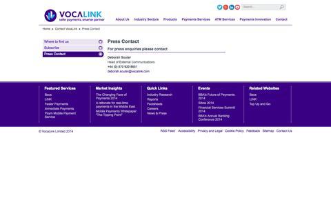 Screenshot of Press Page vocalink.com - Press Contact - captured Sept. 19, 2014