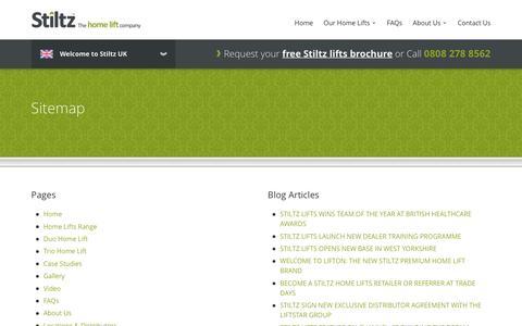 Screenshot of Site Map Page stiltz.co.uk - Sitemap   Stiltz Domestic Lifts - captured Dec. 17, 2016