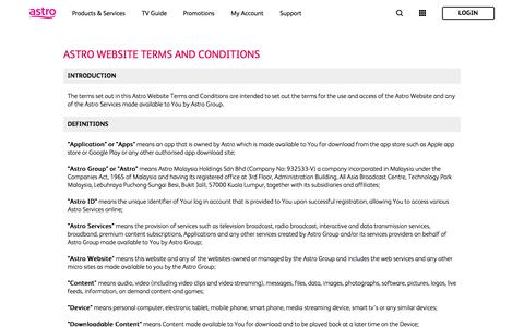 Screenshot of Terms Page astro.com.my - Terms   Astro - captured Jan. 23, 2020