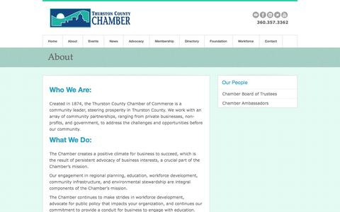 Screenshot of About Page thurstonchamber.com - About - Thurston County Chamber of Commerce - captured Nov. 5, 2014