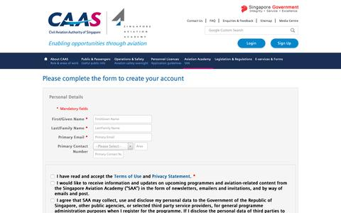 Screenshot of Signup Page caas.gov.sg - iSAA - captured Oct. 22, 2018