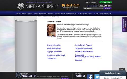 Screenshot of Support Page mediasupply.com - Customer Service - Media Supply - captured July 14, 2018
