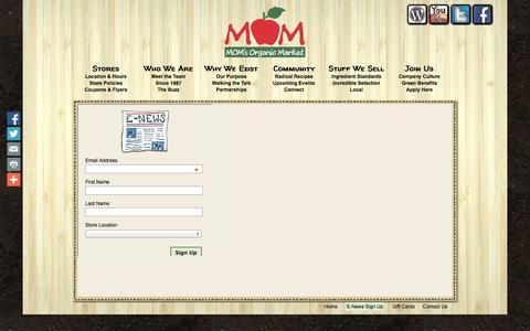Screenshot of Signup Page momsorganicmarket.com - E-News Sign Up | MOM's Organic Market - captured Sept. 22, 2014