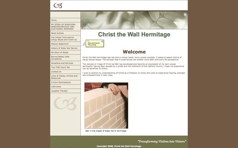 Screenshot of Home Page clergyvictim.com - Christ the Wall Hermitage - captured Oct. 8, 2014