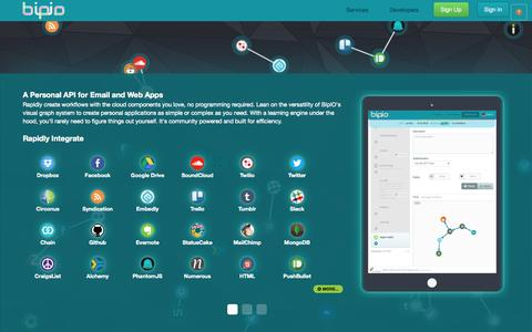 Screenshot of Home Page bip.io - BipIO - For People and Robots - captured Dec. 13, 2014