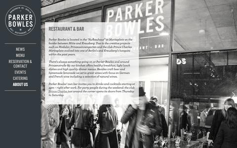 Screenshot of About Page parker-bowles.com - About us - Parker BowlesParker Bowles - Deli - Restaurant - Bar - captured Oct. 24, 2018