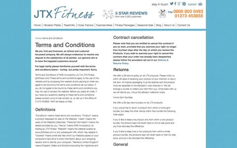 Screenshot of Terms Page jtxfitness.com - JTX Fitness Terms and Conditions for sale of all fitness products - captured Sept. 29, 2014