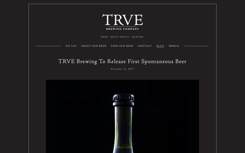 Screenshot of Blog trvebrewing.com - Blog — TRVE Brewing Co. - Denver's True Heavy Metal Brewery - captured Oct. 20, 2018