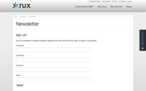 Screenshot of Signup Page krux.com - Newsletter | Krux - captured Sept. 16, 2014