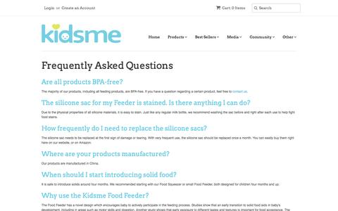 Screenshot of FAQ Page kidsmeusa.com - Frequently Asked Questions about Kidsme Food Feeder and Products – Kidsme: Innovative Baby Products for Feeding, Playtime, and Beyond - captured Aug. 9, 2016