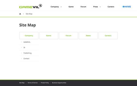 Screenshot of Site Map Page gamevil.com - GAMEVIL - captured May 9, 2017