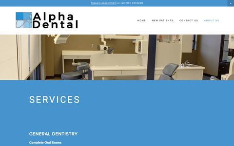 Screenshot of Services Page smileclarksville.com - Services — Alpha Dental - Dentist in Clarksville, TN - captured Oct. 3, 2018
