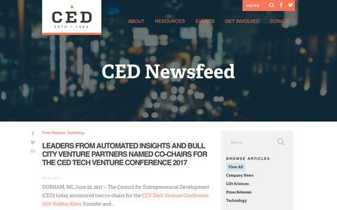 Screenshot of Press Page cednc.org - CED Newsfeed   Company News   Entrepreneur News   Tech Blog - captured July 7, 2017