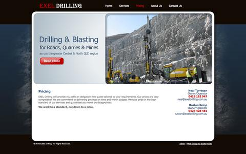 Screenshot of Pricing Page exeldrilling.com.au - Exel Drilling: Pricing - captured Oct. 1, 2014
