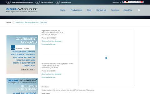 Screenshot of Maps & Directions Page digitalwarehouse.com - Used Cisco | Refurbished Cisco | Directions - captured Jan. 7, 2016