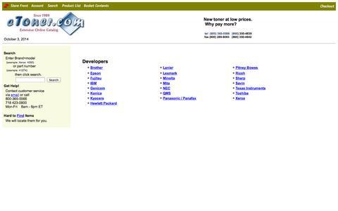 Screenshot of Developers Page etoner.com - eToner Inkjet Cartridges and Toner Supplies - captured Oct. 3, 2014