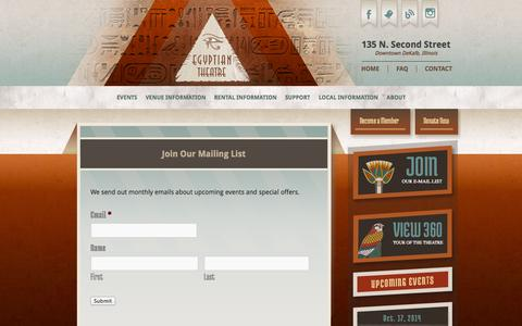 Screenshot of Signup Page egyptiantheatre.org - Join Our Mailing List - Egyptian Theatre - captured Oct. 7, 2014