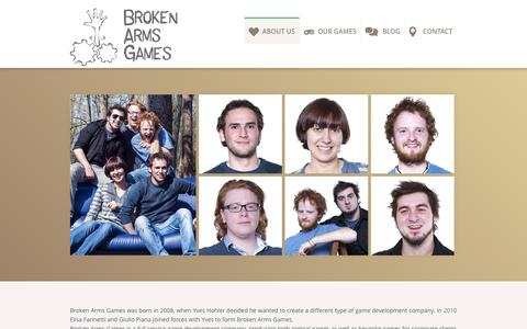 Screenshot of About Page brokenarmsgames.com - About Us - Broken Arms Games - captured Oct. 9, 2014