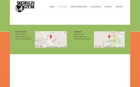 Screenshot of Locations Page worldgymfayette.com - Locations - World Gym - captured Feb. 7, 2016