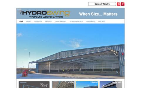 Screenshot of Home Page hydroswing-hydraulic-doors.co.uk - Hydroswing Europe | Hydraulic Doors for Agriculure, Aviation & Industrial use - captured Oct. 4, 2014