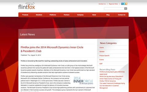 Screenshot of Press Page flintfox.com - Trade Promotion Management | Flintfox - captured Sept. 30, 2014