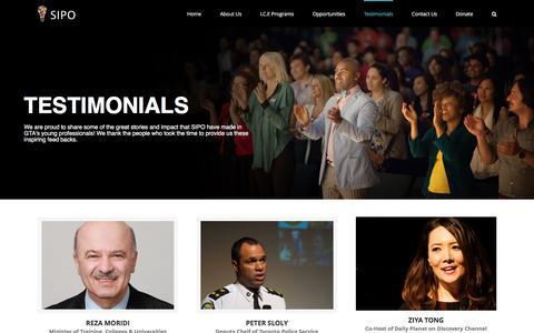 Screenshot of Testimonials Page sipofoundation.org - Testimonials - SIPO - captured Dec. 19, 2015