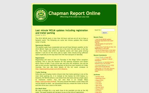 Screenshot of Blog gglotus.org - Chapman Report Online - captured Oct. 3, 2014