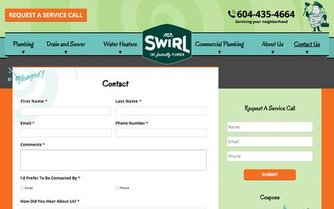 Screenshot of Contact Page mrswirl.com - Contact | Mr. Swirl the Friendly Plumber | Vancouver, BC - captured July 10, 2018