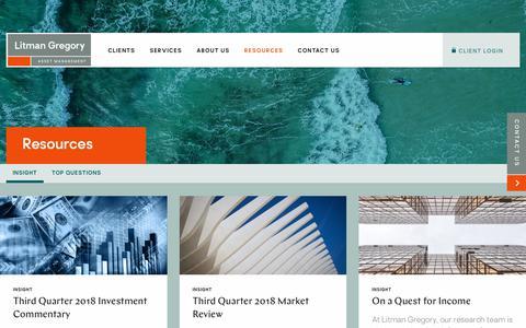 Screenshot of Blog lgam.com - Resources - Litman Gregory Asset Management - captured Oct. 23, 2018