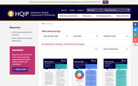 Screenshot of Case Studies Page hqip.org.uk - Resources – HQIP - captured Dec. 14, 2018