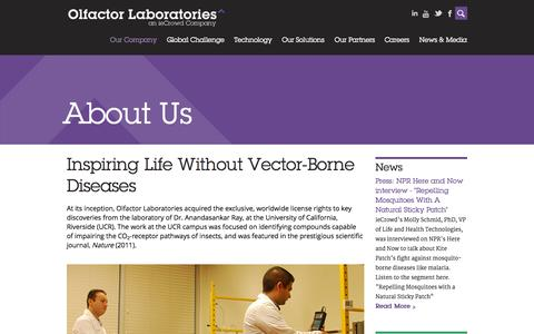 Screenshot of About Page olfactorlabs.com - About Us | Olfactor Labs - captured Sept. 12, 2014