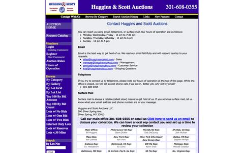 Screenshot of Contact Page Hours Page hugginsandscott.com - Contact Huggins and Scott Auctions - captured Oct. 23, 2014