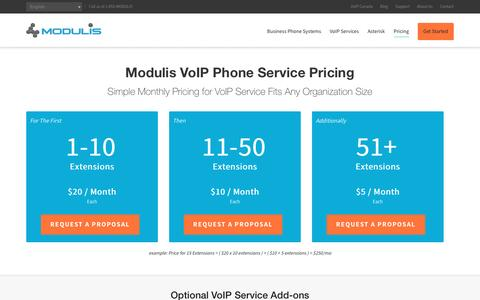 Screenshot of Pricing Page modulis.com - Simple VoIP Service Pricing | Modulis - captured Aug. 12, 2016