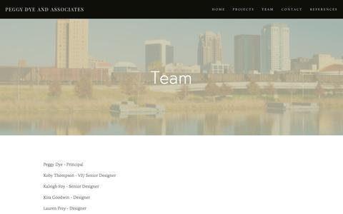 Screenshot of Team Page peggydye.com - TEAM — PEGGY DYE AND ASSOCIATES - captured Jan. 26, 2016