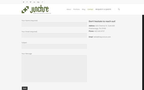 Screenshot of Contact Page thejuncture.com - Contact    Juncture LLC - captured Oct. 6, 2014