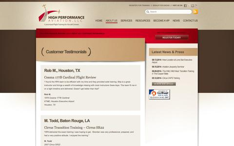 Screenshot of Testimonials Page flyhpa.com - Customer Testimonials // Satisfied Clients // Flight Students // High Performance Aviation, LLC - captured Oct. 2, 2014
