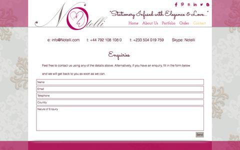 Screenshot of Contact Page notelli.com - Contact Us - captured Dec. 11, 2016