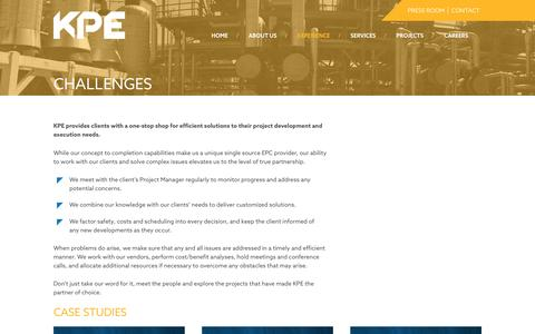 Screenshot of Case Studies Page kpe.com - Challenges – KP Engineering - captured Nov. 27, 2016
