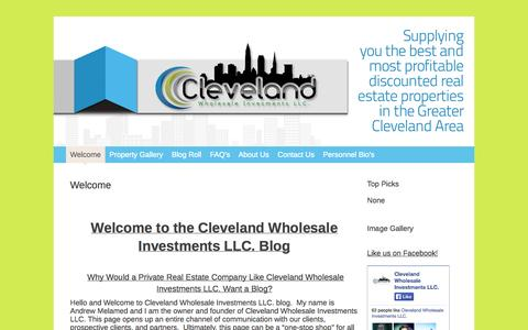 Screenshot of Home Page 216reinvestments.com - Cleveland Wholesale Investments LLC.   Supplying you the best and most profitable discounted real estate properties in the Greater Cleveland Area - captured Oct. 2, 2014