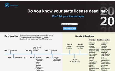 Screenshot of Landing Page oncourselearning.com - Do you know your state license deadline? - captured May 4, 2018