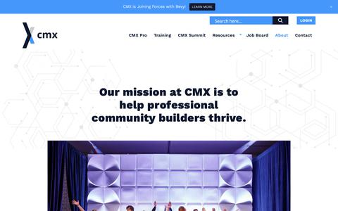 Screenshot of About Page cmxhub.com - About - CMX - captured Feb. 14, 2019