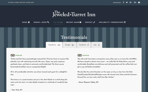Screenshot of Testimonials Page jeweledturret.com - Reviews of the Best Maine Bed & Breakfast // Jeweled Turret Inn - captured July 4, 2018