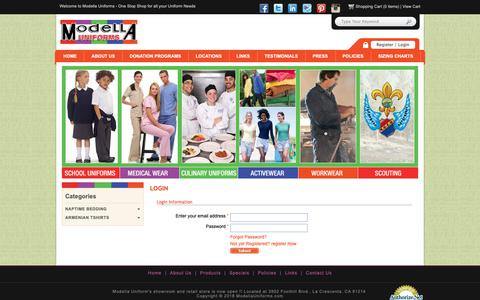 Screenshot of Login Page modellauniforms.com - Modella Uniforms - Login - captured Oct. 20, 2018