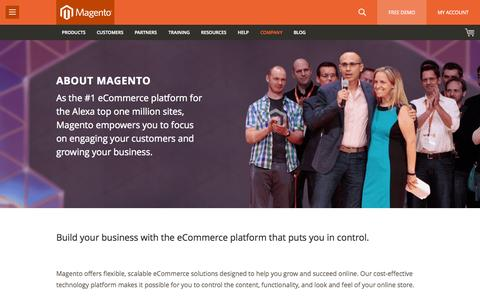 Screenshot of About Page magento.com - The Best eCommerce Platform | About Magento - captured June 16, 2015