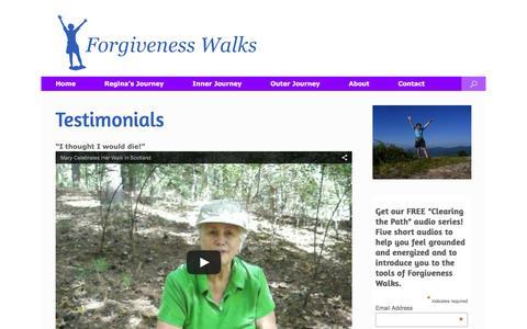 Screenshot of Testimonials Page forgivenesswalks.com - Testimonials   Forgiveness Walks - captured Feb. 10, 2016