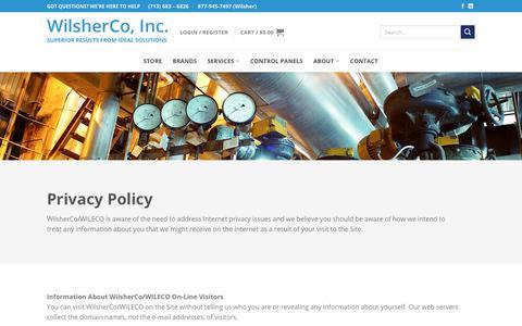 Screenshot of Privacy Page wilsherco.com - Policies - WilsherCo, Inc. - captured Nov. 15, 2018