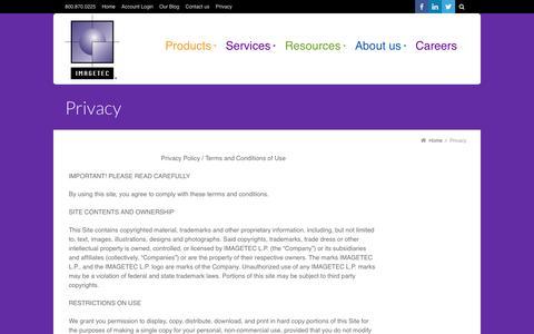 Screenshot of Privacy Page imagetec.com - Privacy - Chicago Area Print Management & Document Management Company - captured Oct. 8, 2016