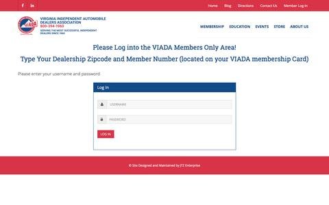 Screenshot of Login Page viada.org - Virginia Independent Automobile Dealer Association, Join Us! - captured Feb. 14, 2016