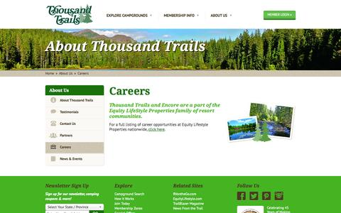 Screenshot of Jobs Page thousandtrails.com - Work with us. Find your career at Thousand Trails - captured Sept. 19, 2014