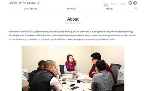 Screenshot of About Page a16z.com - About   Andreessen Horowitz - captured Dec. 16, 2015